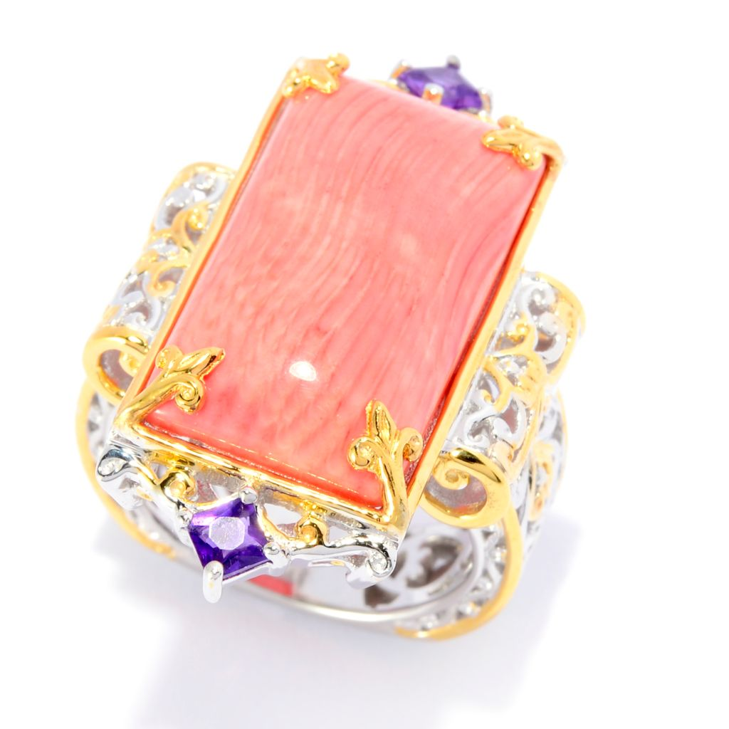 141-883 - Gems en Vogue 22 x 12mm Sea Bamboo Coral & African Amethyst Elongated Ring