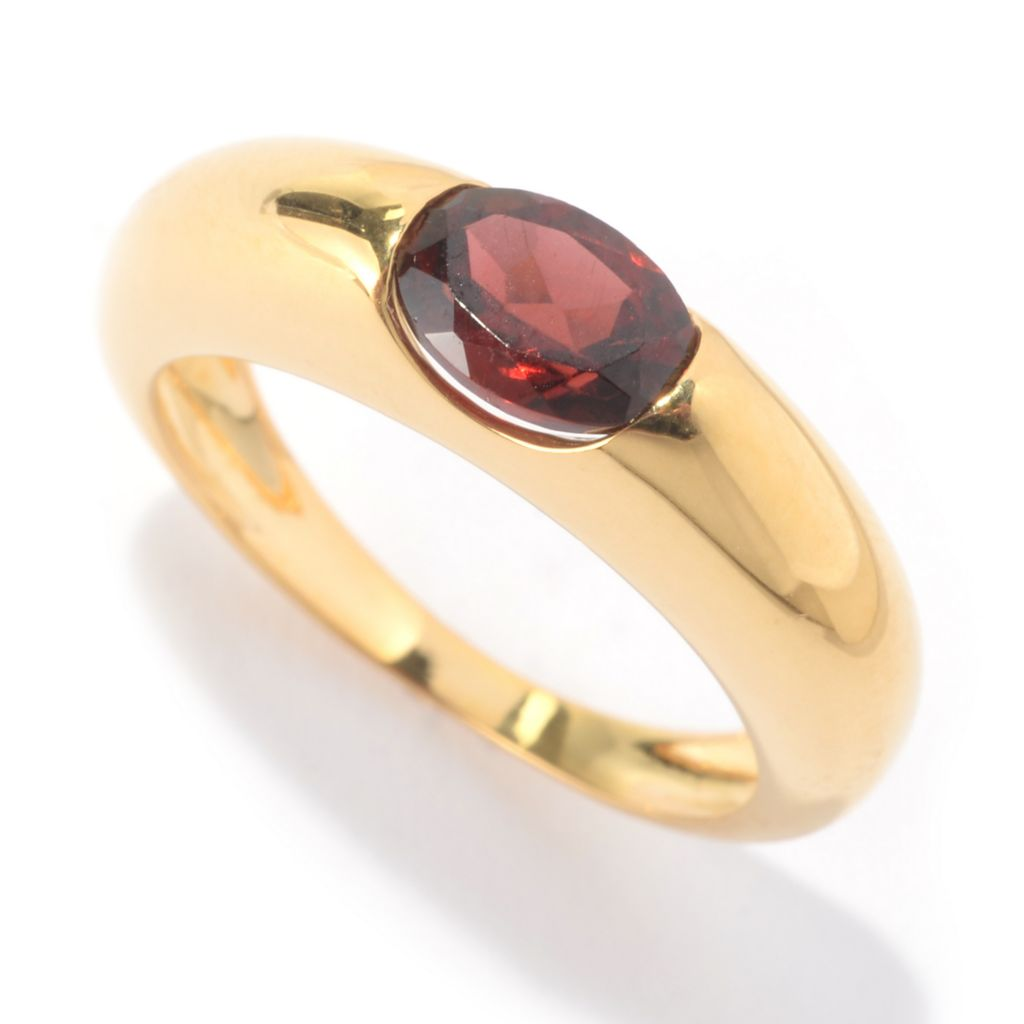 141-884 - Portofino Signature 18K Gold Embraced™ Oval Gemstone High Polish Solitaire Ring