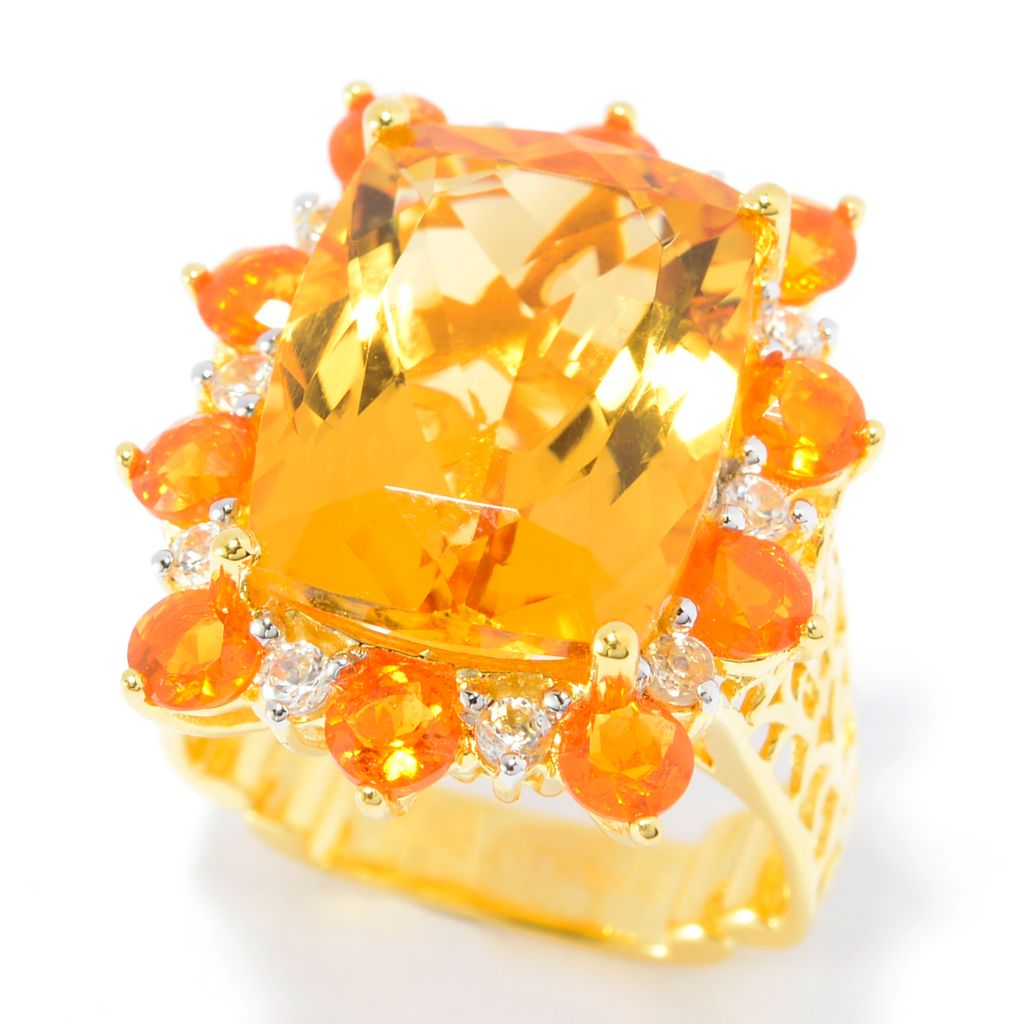 141-894 - Dallas Prince 12.75ctw Citrine, Fire Opal & White Zircon Flower Ring