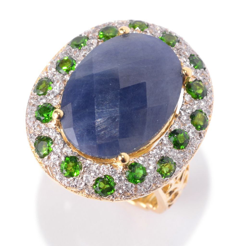 141-895 - Dallas Prince 18 x 13mm Blue Sapphire, White Zircon & Chrome Diopside Ring