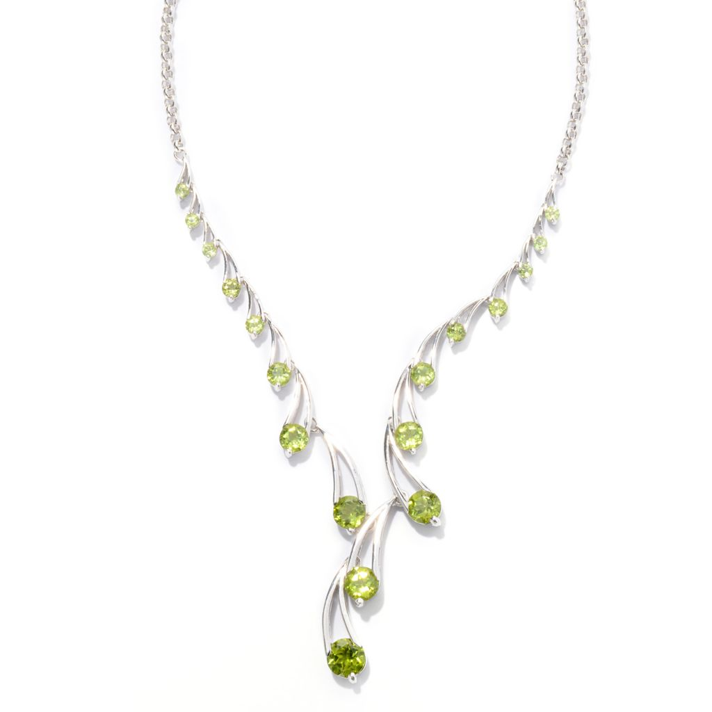 "141-897 - Gem Insider Sterling Silver 18"" 10.80ctw Round Peridot Drop Necklace"