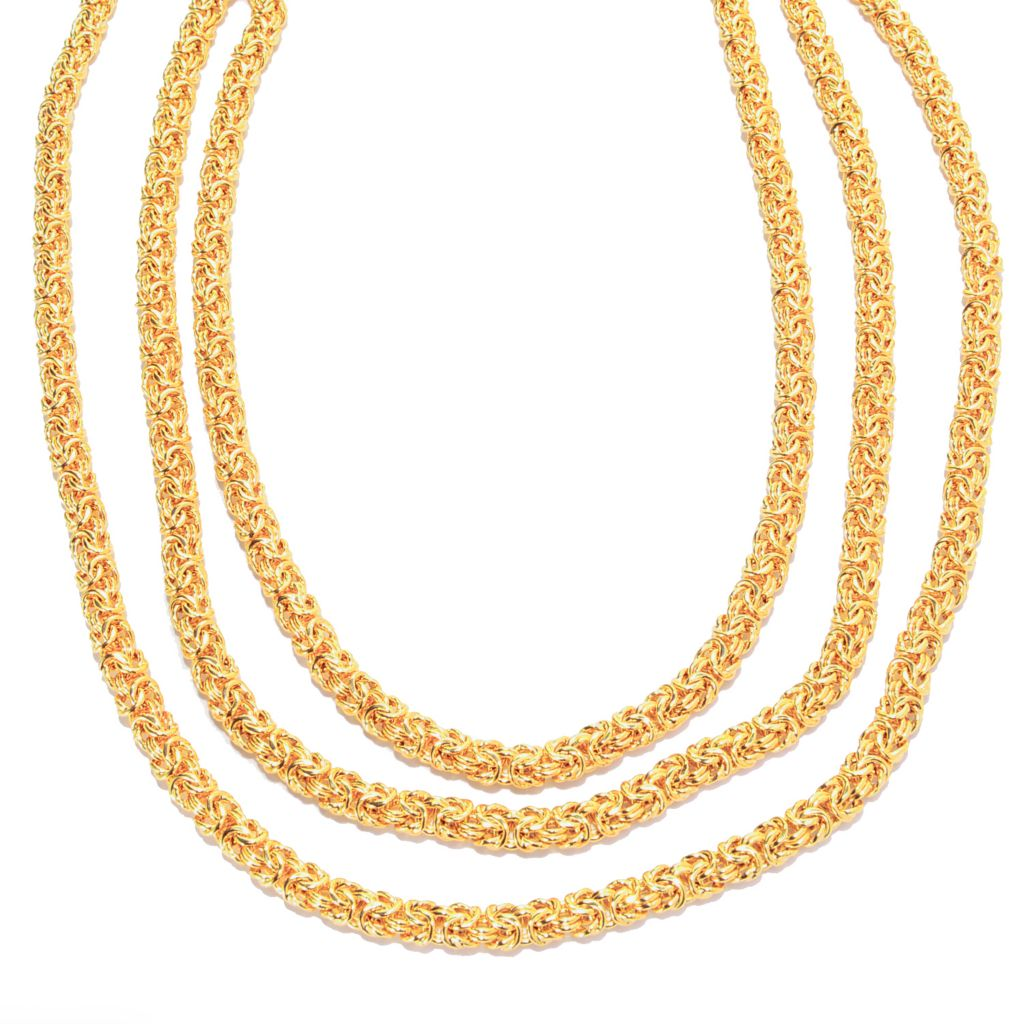 "141-898 - Toscana Italiana 18K Gold Embraced™ 80"" Polished Byzantine Necklace"