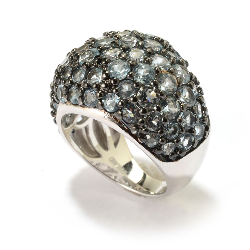 141-906 - Gem Treasures Sterling Silver 5.00ctw Round Gemstone Cluster Dome Ring