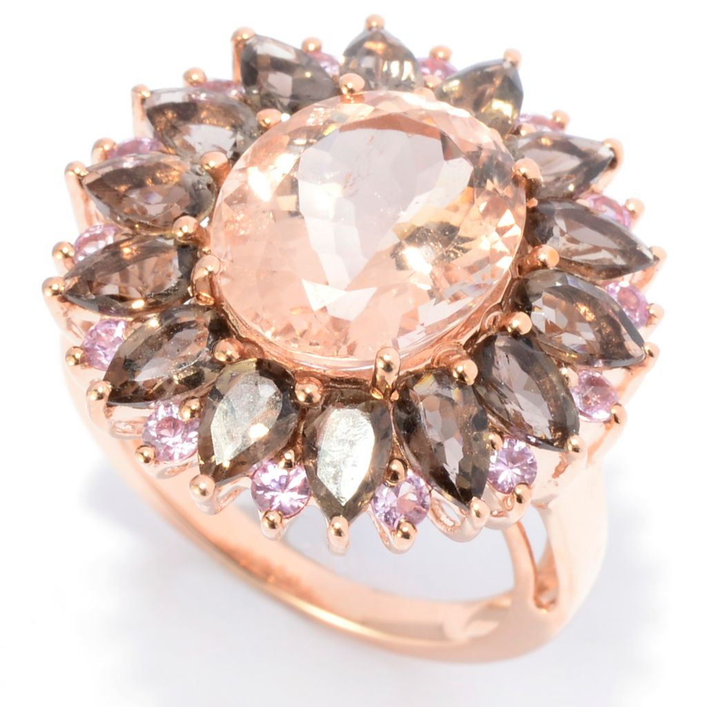 141-907 - Gem Treasures 14K Rose Gold 6.26ctw Morganite, Smoky Quartz & Pink Sapphire Ring