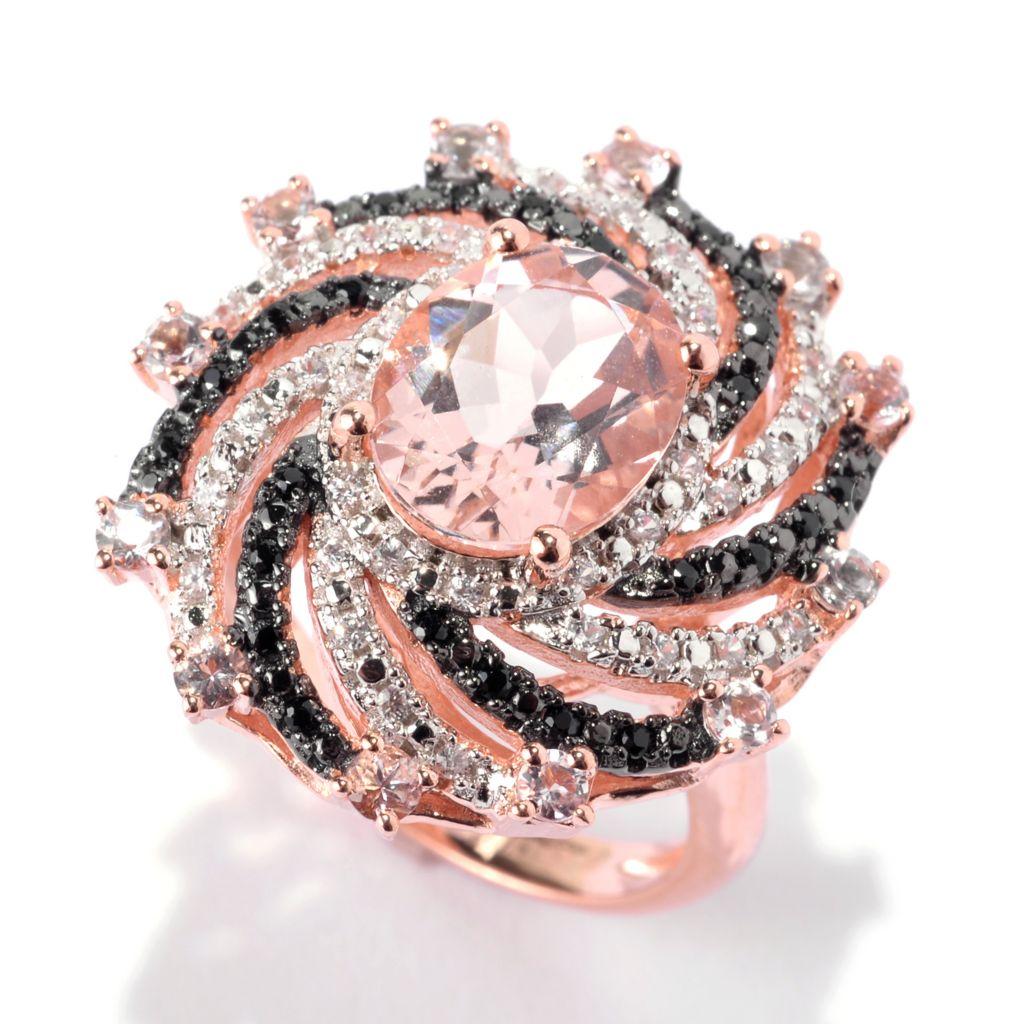 141-943 - NYC II 2.97ctw Oval Morganite, Black Spinel & White Zircon Ring