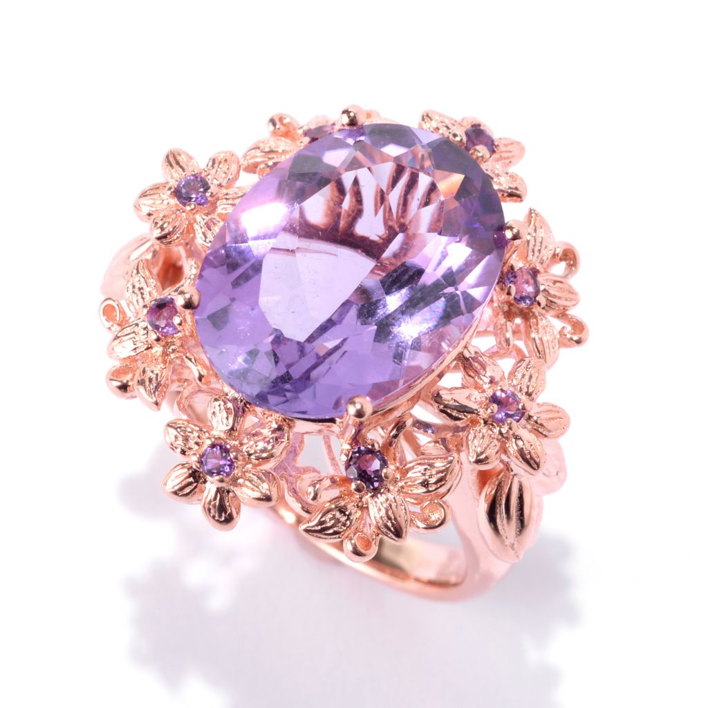 141-944 - NYC II 6.97ctw Oval & Round Amethyst Flower Ring