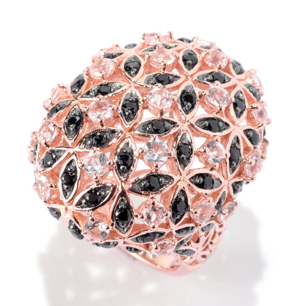 141-946 - NYC II 3.52ctw Round Morganite & Black Spinel Flower Dome Ring