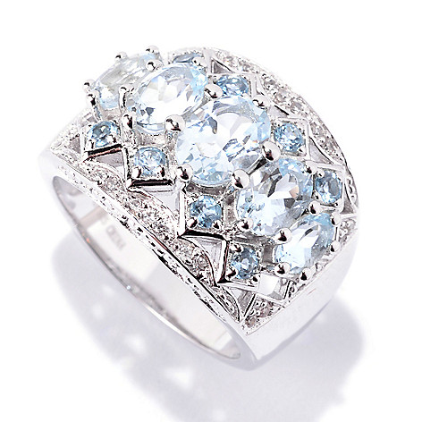 141-947 - NYC II™ 2.59ctw Oval Aquamarine, Swiss Blue Topaz & White Zircon Ring