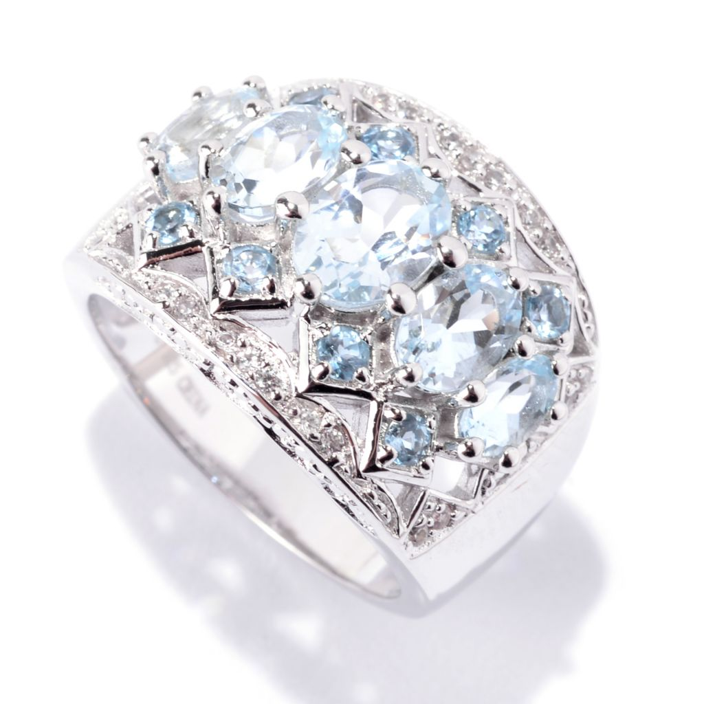 141-947 - NYC II 2.59ctw Oval Aquamarine, Swiss Blue Topaz & White Zircon Ring