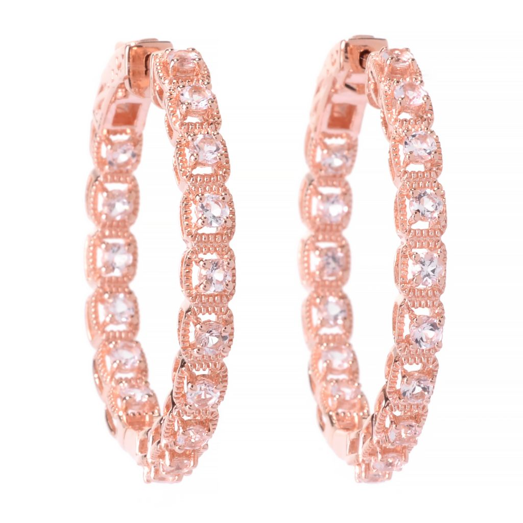 "141-948 - NYC II 1.25"" 1.91ctw Round Morganite Inside-Out Hoop Earrings"