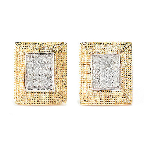 141-950 - Beverly Hills Elegance® 14K Two-tone Gold 0.20ctw Diamond Rectangular Stud Earrings