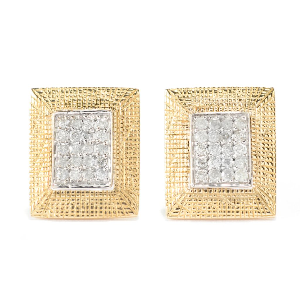 141-950 - Beverly Hills Elegance 14K Two-tone Gold 0.20ctw Diamond Rectangular Stud Earrings
