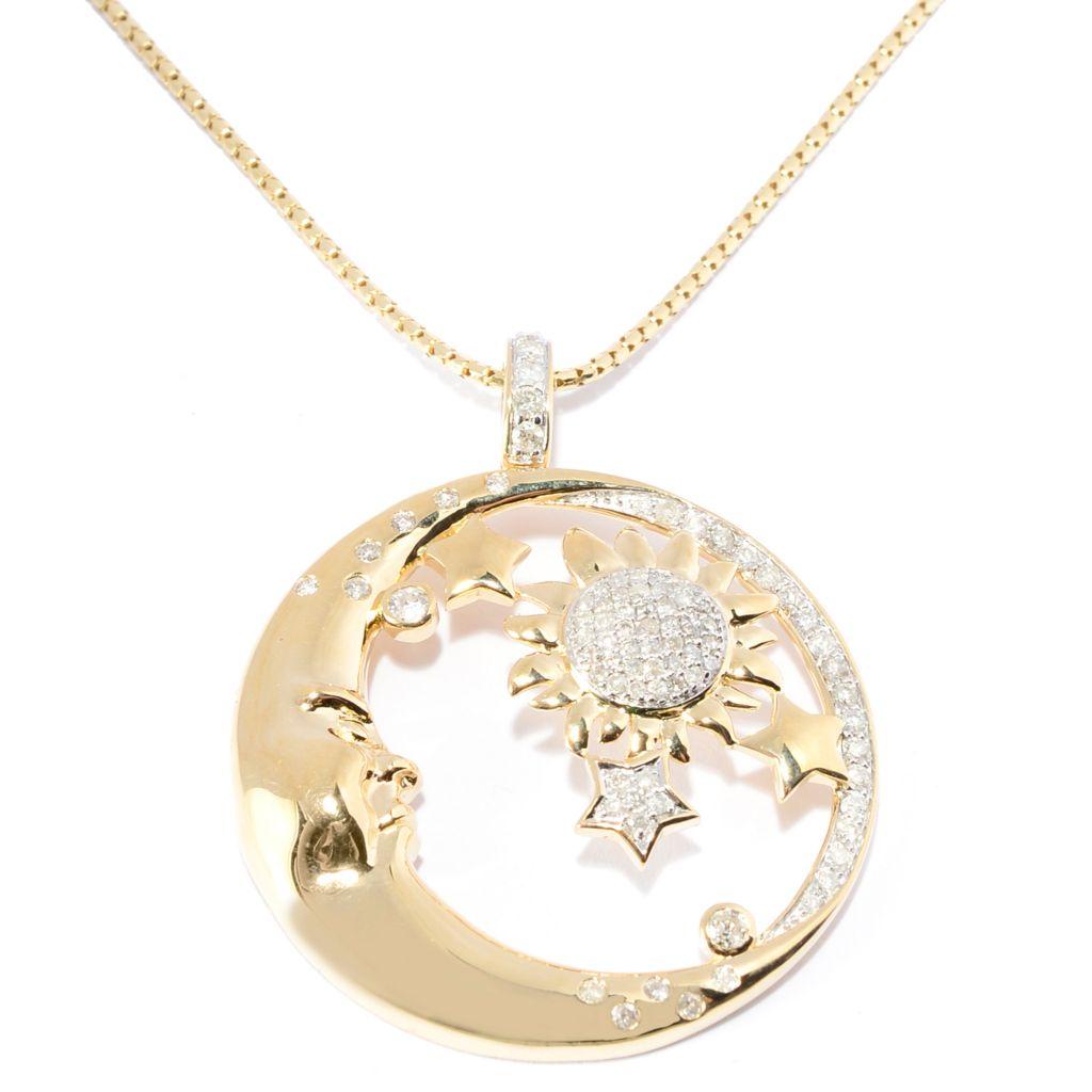 141-951 - Beverly Hills Elegance 14K Gold 0.75ctw Diamond Round Solar Pendant w/ Chain