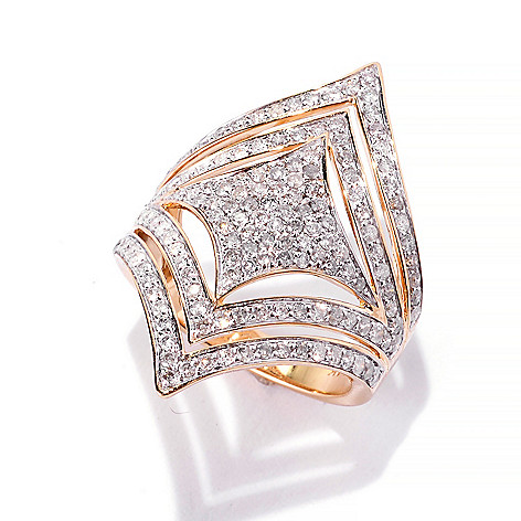 141-952 - Beverly Hills Elegance 14K Gold 1.21ctw Diamond Square & Chevron North-South Ring