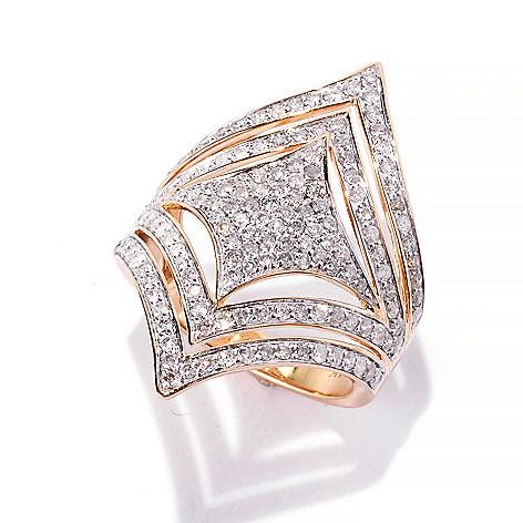 141-952 - Beverly Hills Elegance 14K Gold 1.21ctw Diamond Square & Chevron North-South Ring