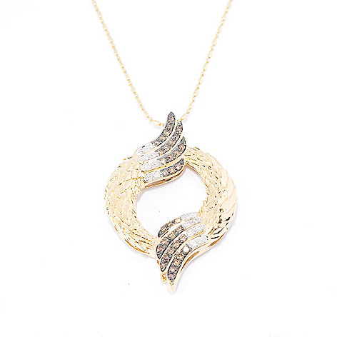 141-954 - Beverly Hills Elegance 14K Gold 0.50ctw Diamond Winged Circle Pendant w/ Chain