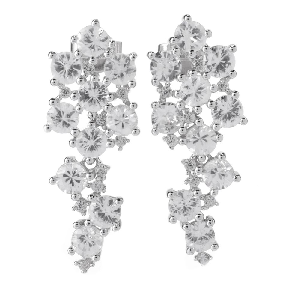 "141-960 - Gem Treasures Sterling Silver 1.25"" 8.50ctw White Zircon Drop Earrings"