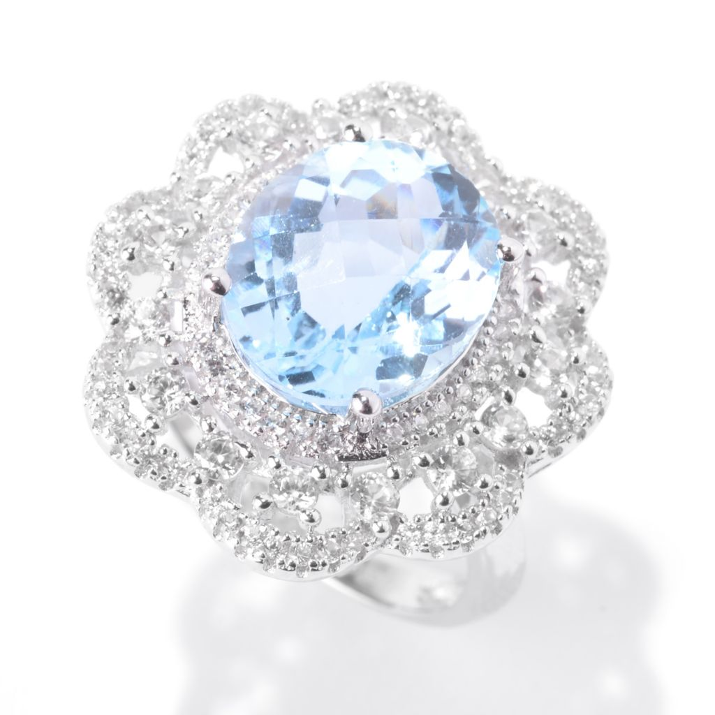 141-961 - Gem Treasures Sterling Silver 7.51ctw Blue Topaz & White Zircon Flower Halo Ring