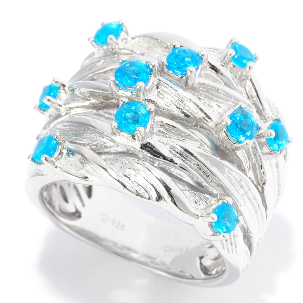 141-962 - Gem Treasures Sterling Silver Neon Apatite Multi Row Textured Ring