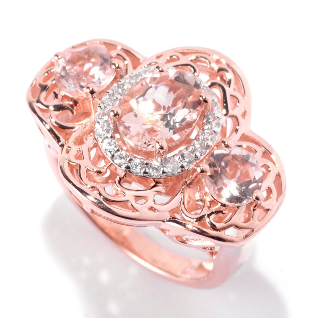 141-963 - NYC II 2.48ctw Oval Morganite & White Zircon Scrollwork Ring