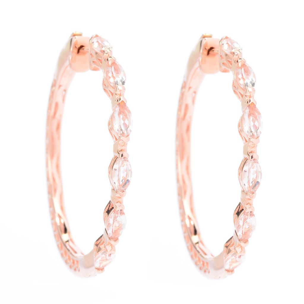 "141-964 - NYC II 1.5"" 2.53ctw Marquise Shaped Morganite Hoop Earrings"