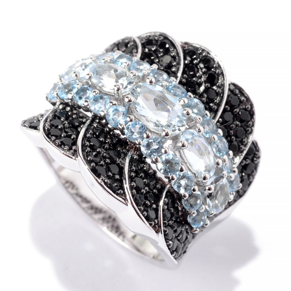 141-965 - NYC II 2.07ctw Oval Aquamarine, Swiss Blue Topaz & Black Spinel Ring