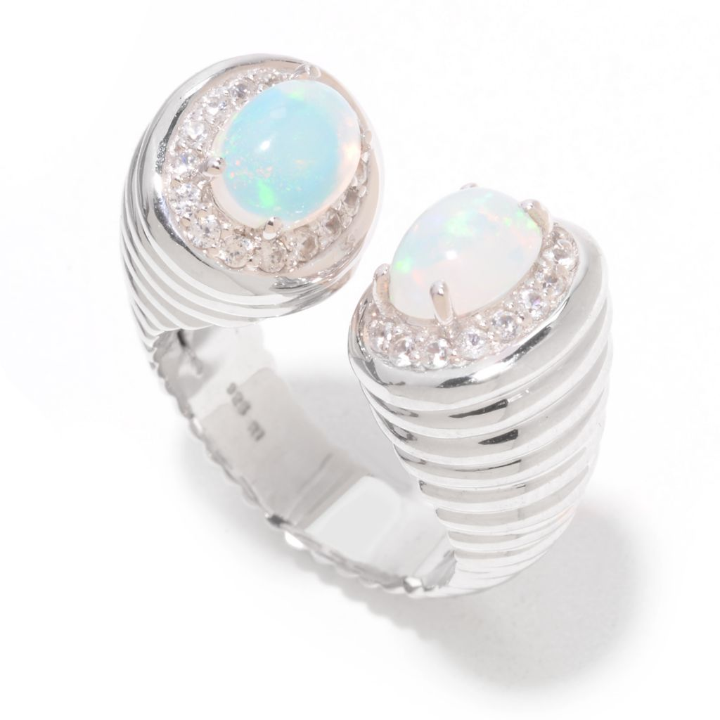 141-974 - Dallas Prince Sterling Silver Ethiopian Opal & White Zircon Textured Ring