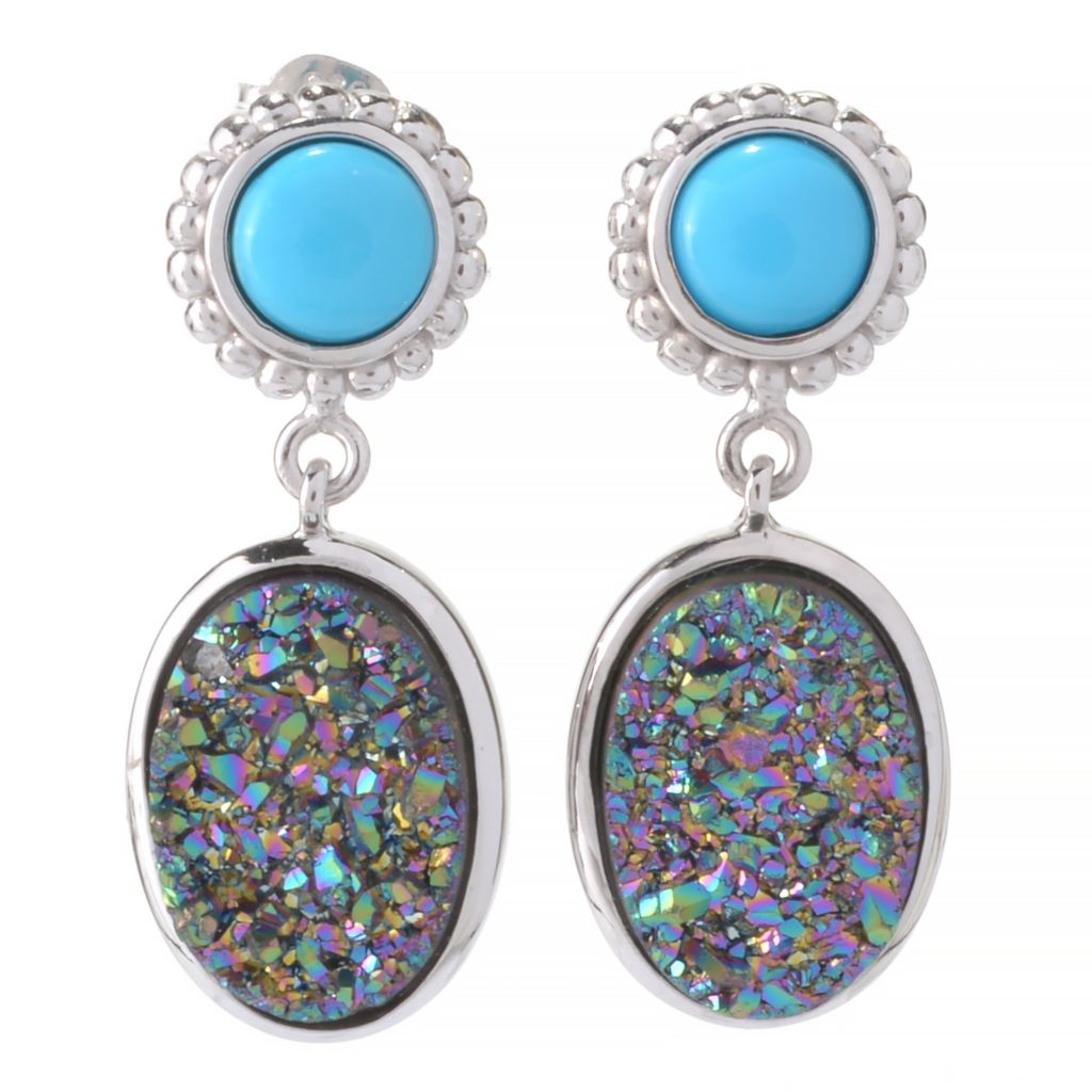 "141-978 - Gem Insider Sterling Silver 1"" Mystic Drusy & Sleeping Beauty Turquoise Earrings"
