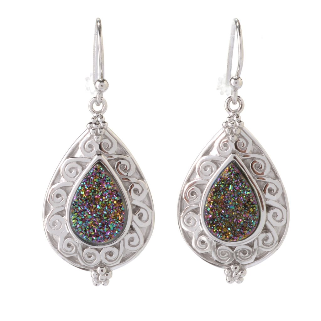 "141-980 - Gem Insider Sterling Silver 1.5"" 12 x 8mm Mystic Drusy Teardrop Earrings"