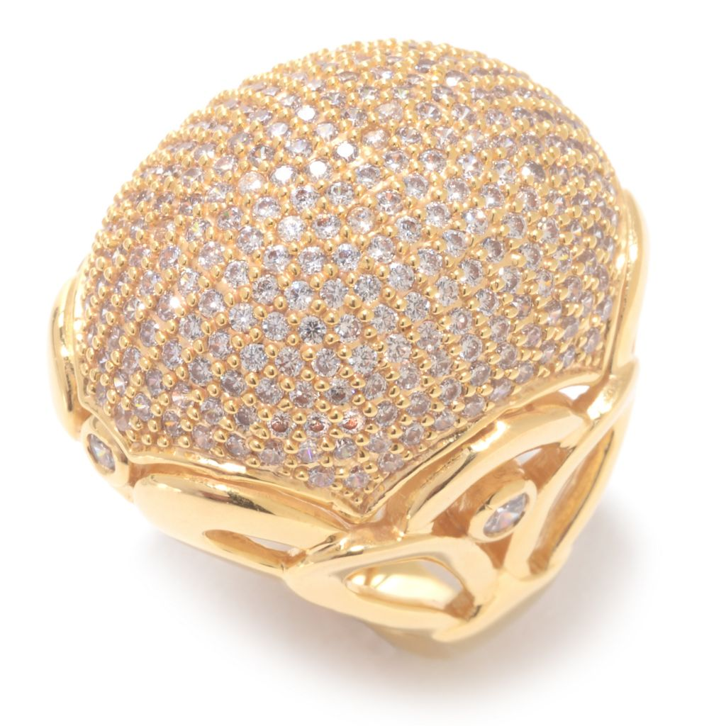 141-982 - Brilliante® 18K Gold Embraced™ 3.09 DEW Round Simulated Diamond Large Dome Ring