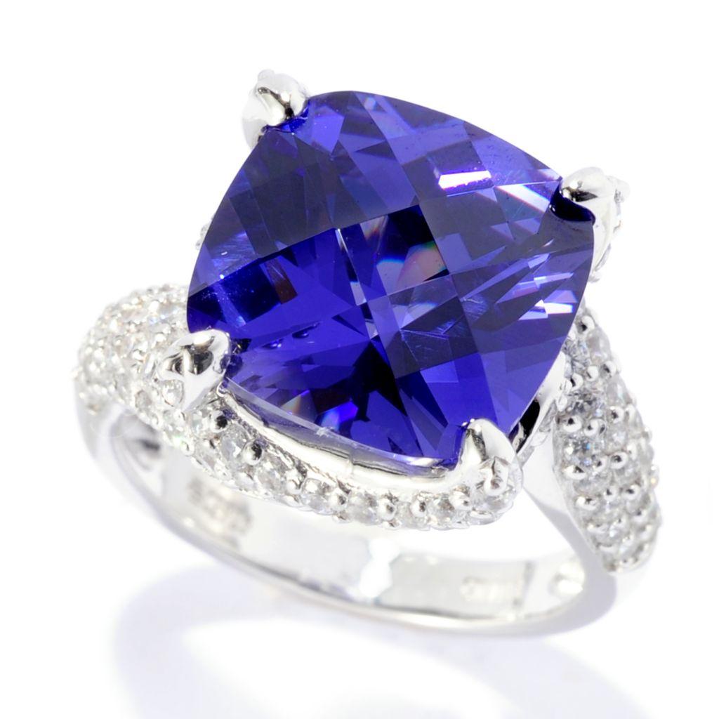 141-985 - Brilliante® Platinum Embraced™ 12mm Simulated Gem & Simulated Diamond Ring