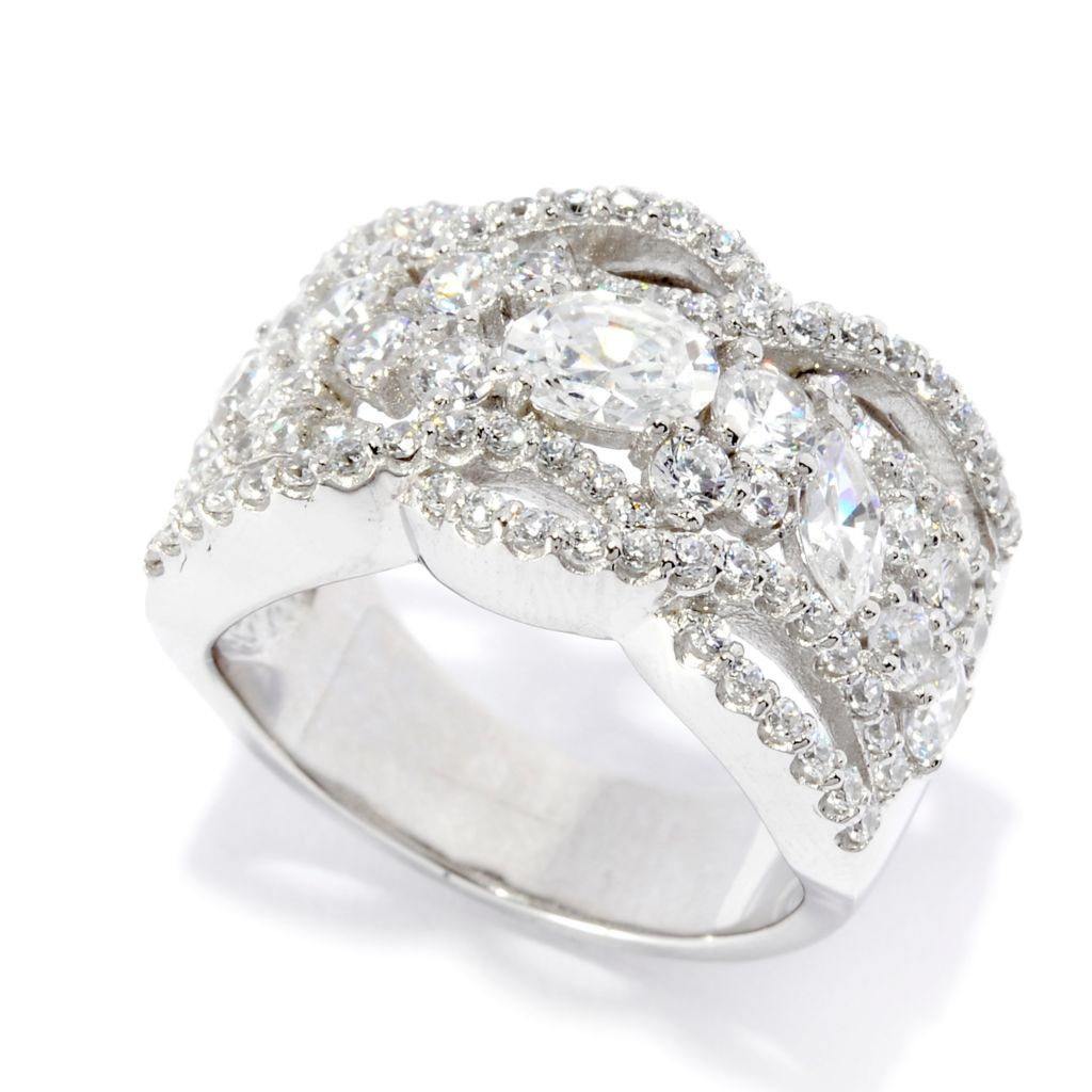 141-986 - Brilliante® Platinum Embraced™ 2.33 DEW Multi Shape Simulated Diamond Wide Ring