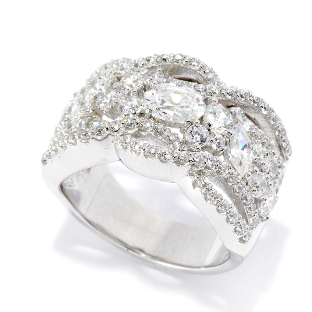 141-986 - Brilliante® Platinum Embraced™ 2.33 DEW Multi Shape Simulated Diamond Wide Ring
