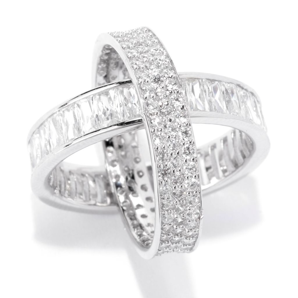 141-992 - Brilliante® Platinum Embraced™ 7.24 DEW Multi Simulated Diamond Rolling Band Ring