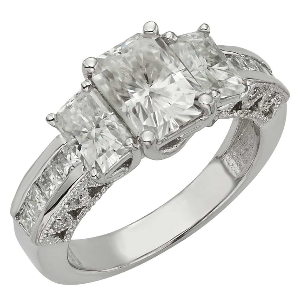 141-995 - Venazia™ Forever Brilliant® Moissanite 14K White Gold 2.70 DEW Three-Stone Ring - Size 7