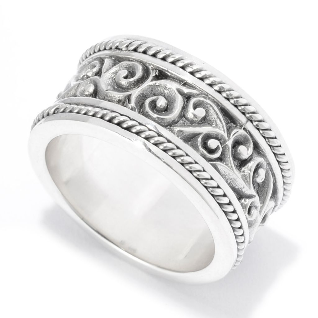 141-996 - Artisan Silver by Samuel B. Polished & Oxidized Filigree Band Ring