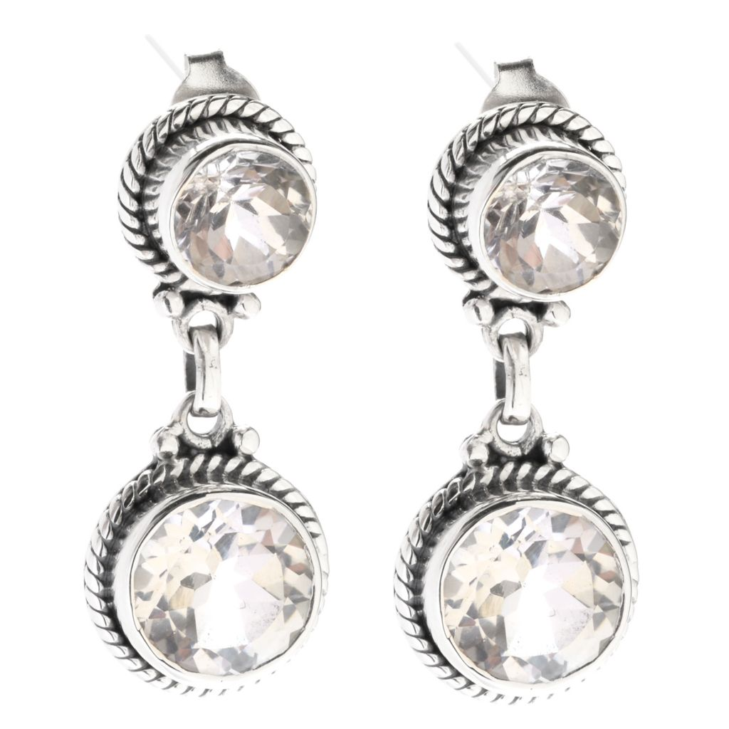 "141-998 - Artisan Silver by Samuel B.1"" Round Gemstone Double Drop Earrings"