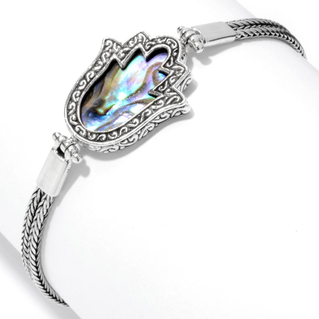 "142-001 - Artisan Silver by Samuel B. 7"" 19 x 15mm Gemstone Polished Hamsa Toggle Bracelet"