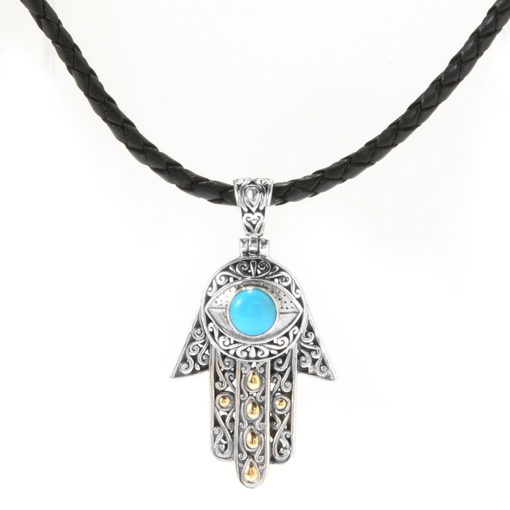 142-003 - Artisan Silver by Samuel B. Two-tone 7mm Sleeping Beauty Turquoise Hamsa Pendant w/ Leather Cord