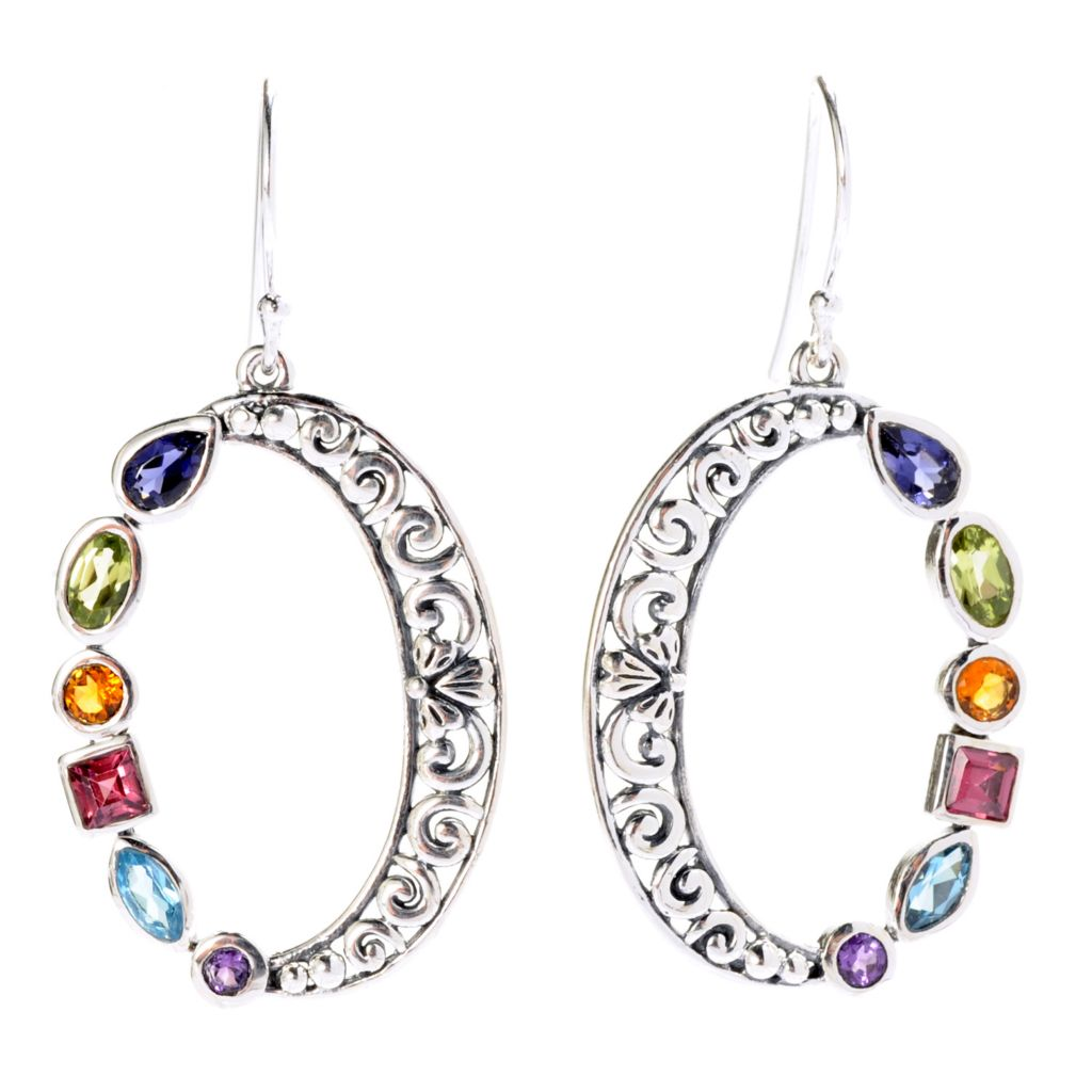 "142-004 - Artisan Silver by Samuel B. 1.75"" 1.93ctw Multi Gem Oxidized Swirl Drop Earrings"