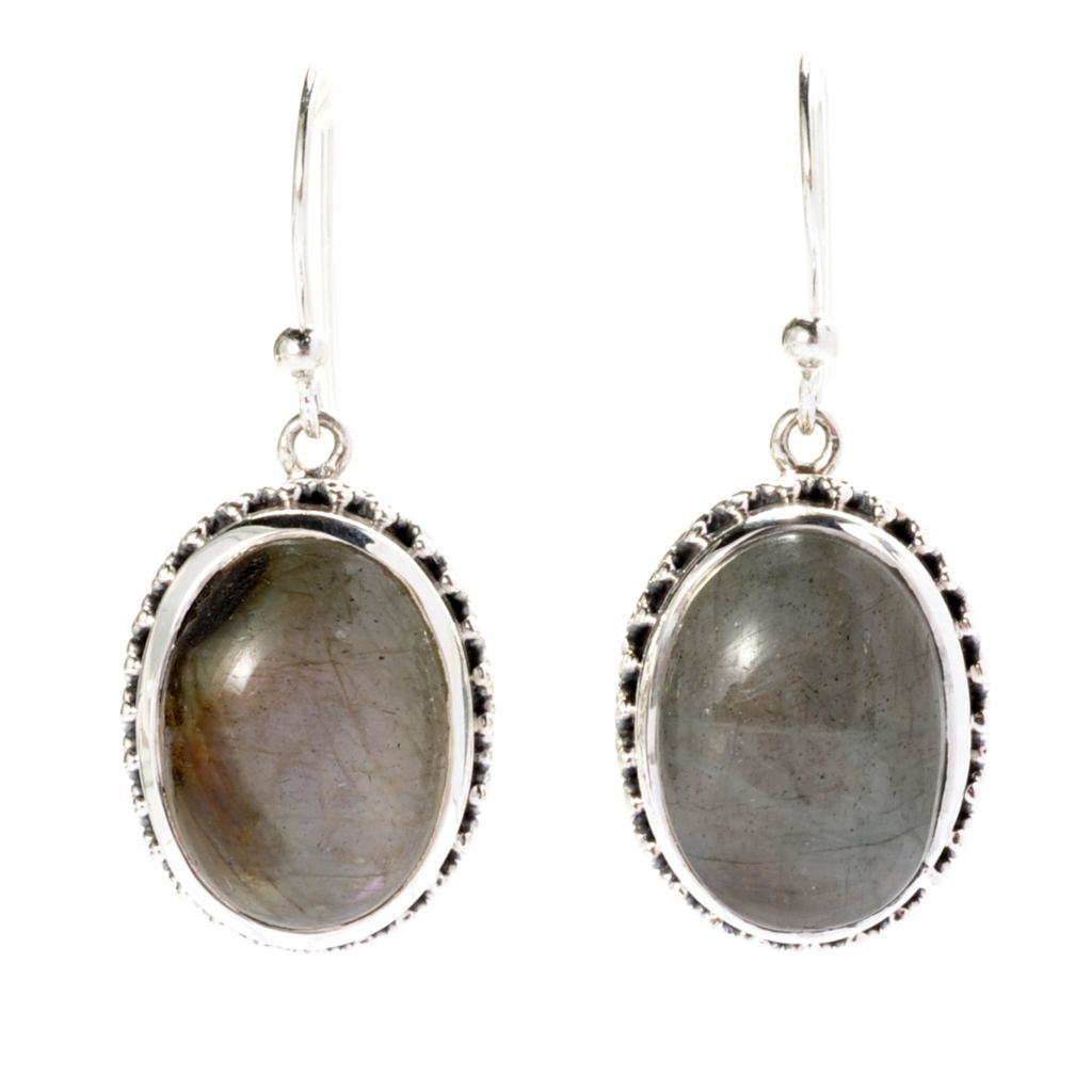 142-009 - Artisan Silver by Samuel B. Sterling Silver 14 x 10mm Oval Labradorite Drop Earrings