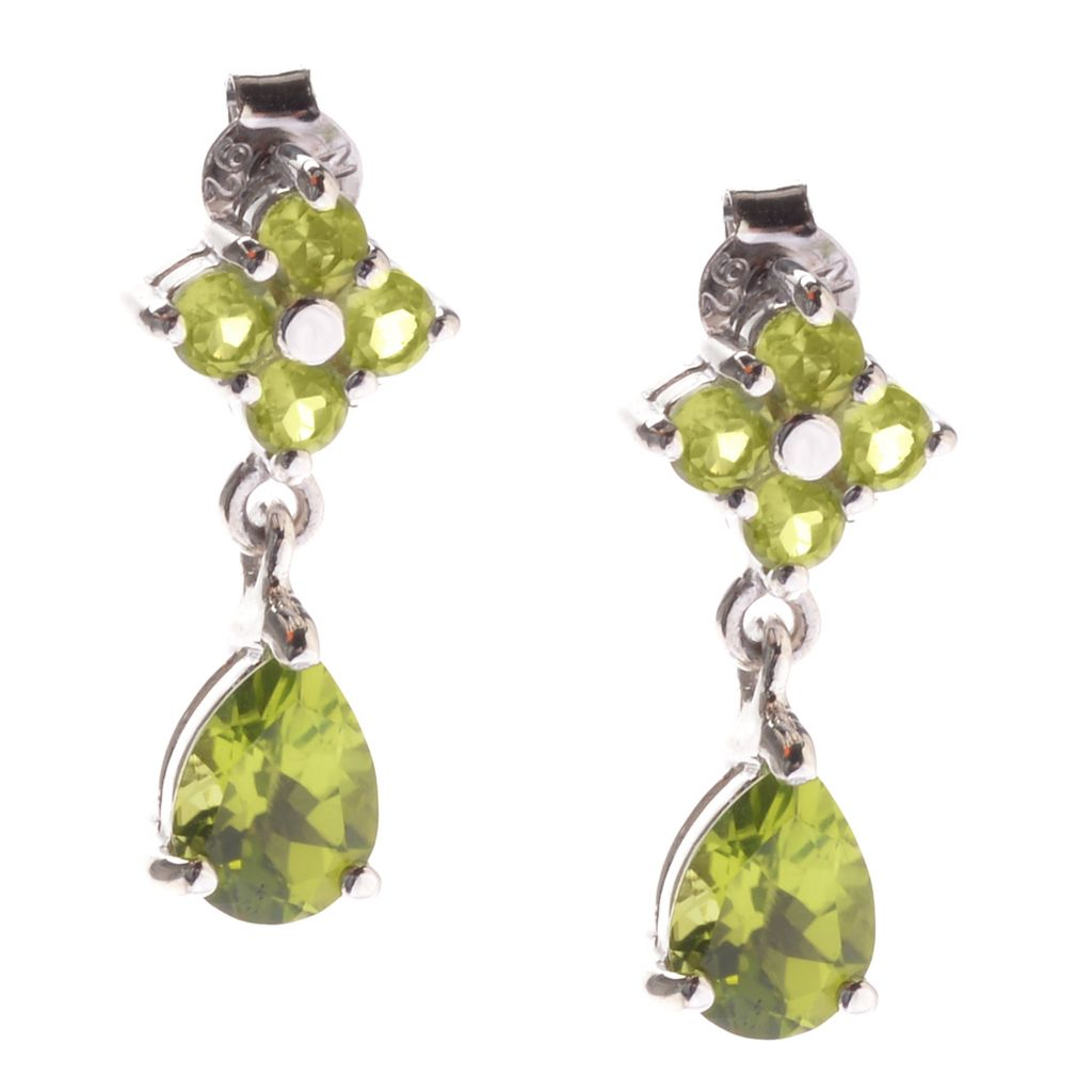 142-012 - Gem Insider Sterling Silver 3.14ctw Peridot & Round Gemstone Flower Earrings