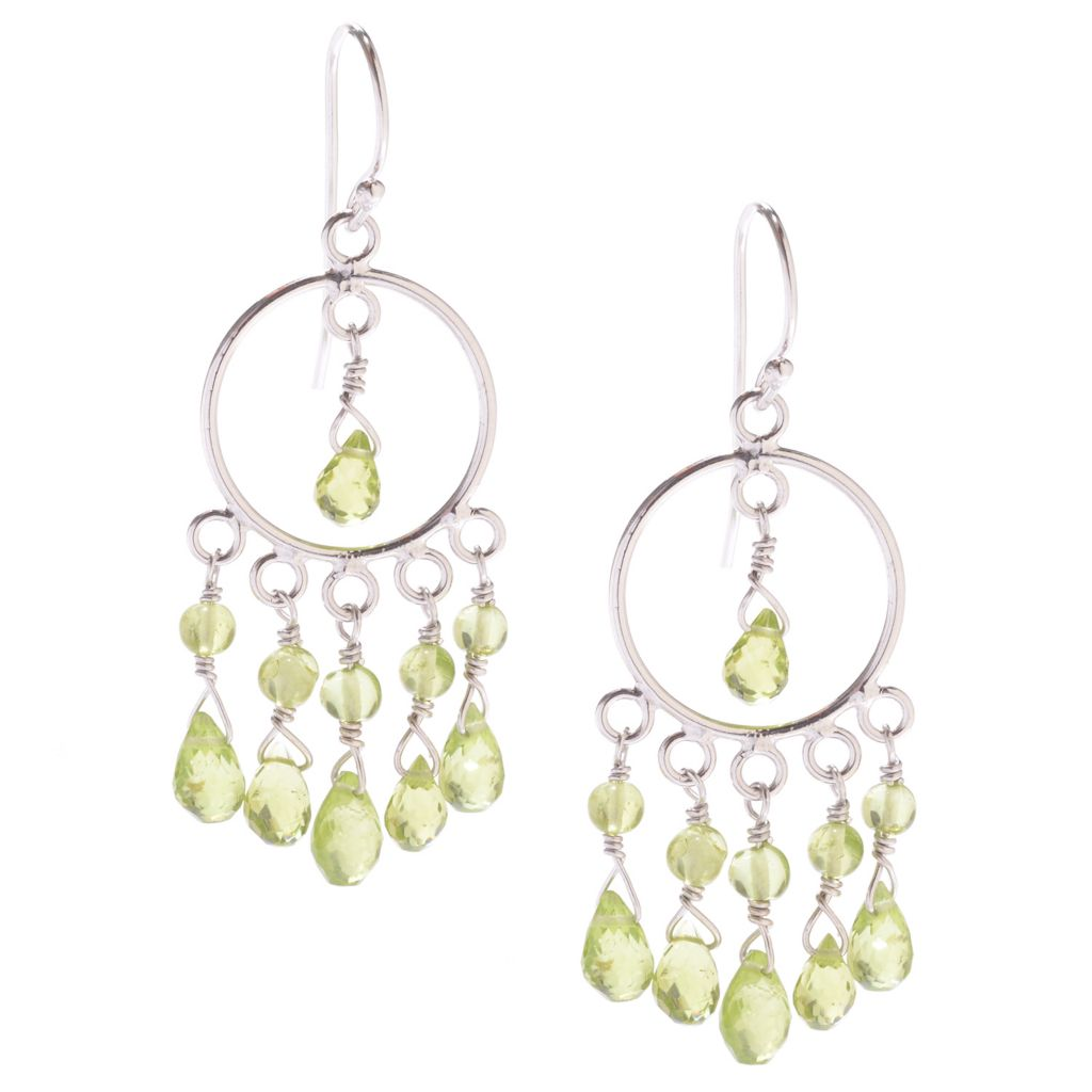 "142-013 - Gem Insider Sterling Silver 2"" 12.72ctw Peridot Bead Dangle Earrings"