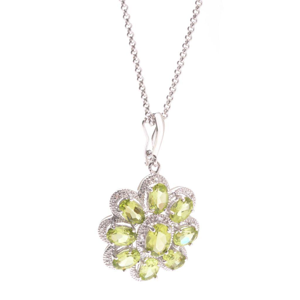 142-014 - Gem Insider Sterling Silver 4.47ctw Peridot & White Topaz Flower Pendant