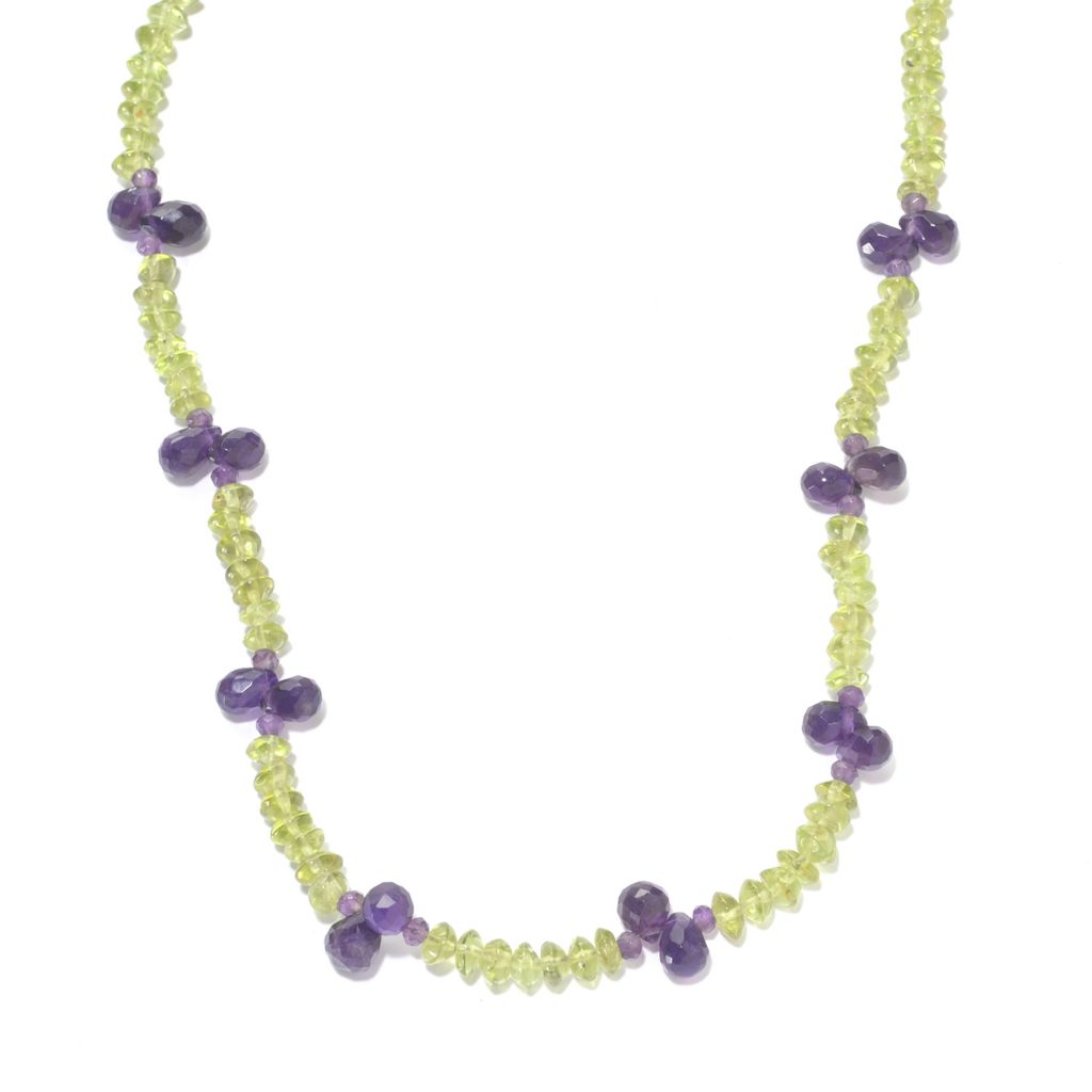 "142-015 - Gem Insider Sterling Silver 18"" 21.60ctw Peridot & Amethyst Bead Necklace"