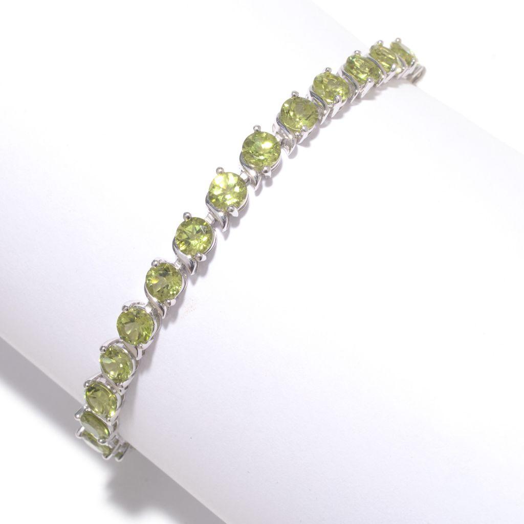 142-016 - Gem Insider Sterling Silver 12.31ctw Round Peridot Line Bracelet