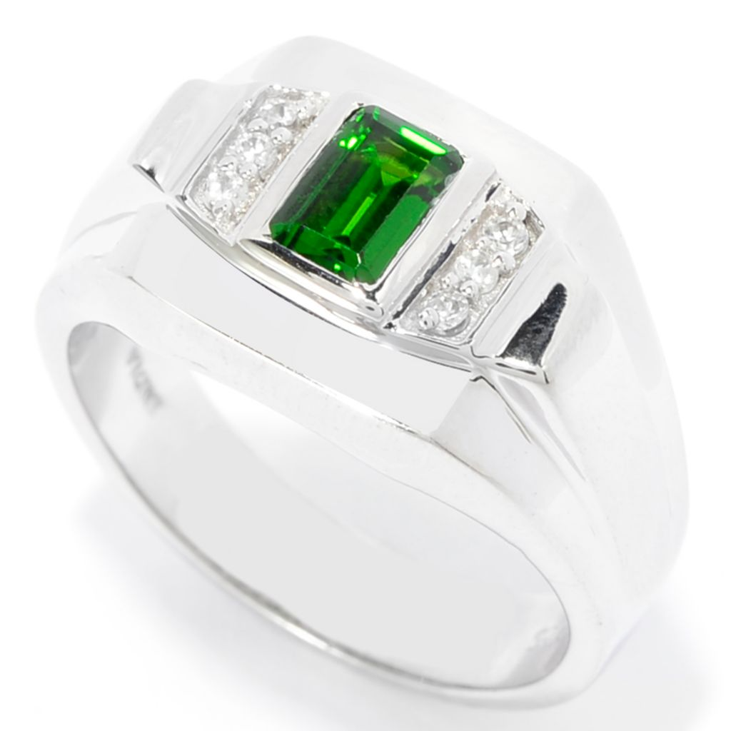 142-021 - Gem Treasures Men's Sterling Silver Chrome Diopside & White Zircon Ring