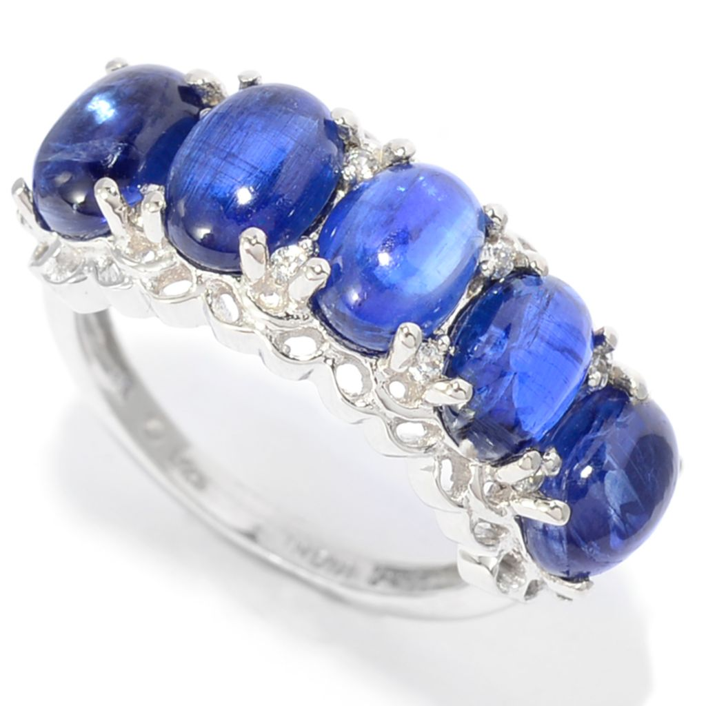 142-022 - Gem Treasures Sterling Silver 5.16ctw Kyanite & White Zircon Band Ring