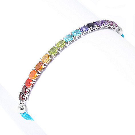 142-029 - NYC II™ 4.35ctw Multi Gemstone Exotic Rainbow Adjustable Tennis Bracelet