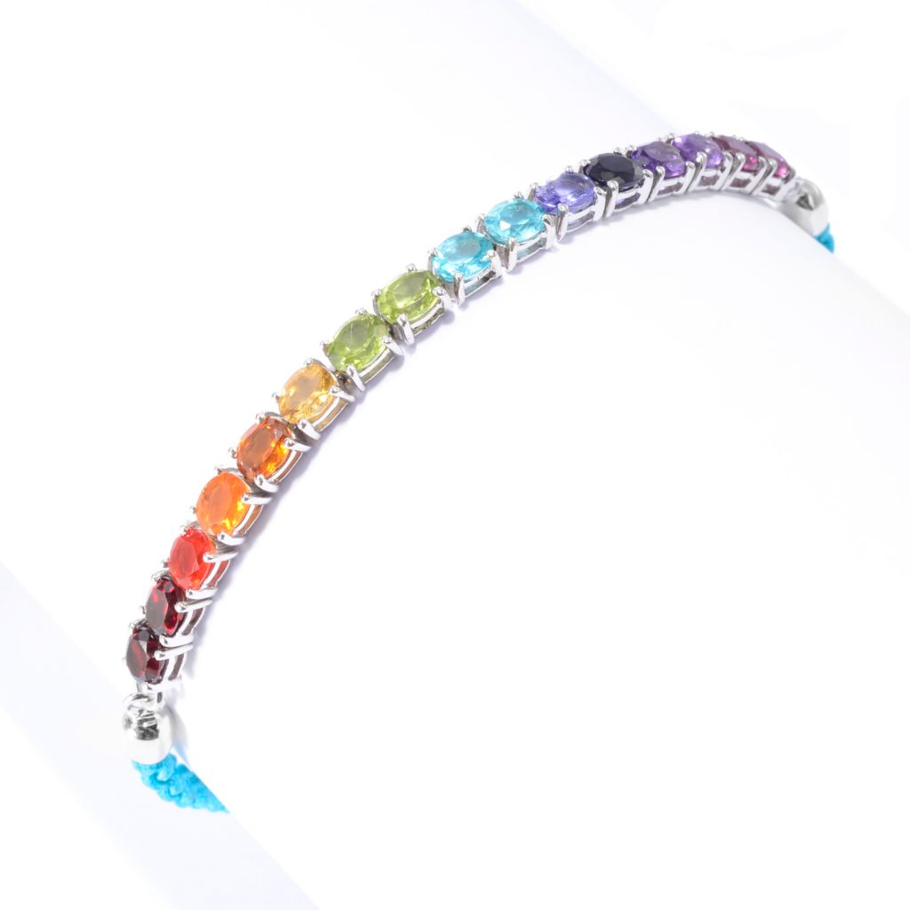 142-029 - NYC II 4.35ctw Multi Gemstone Exotic Rainbow Adjustable Tennis Bracelet